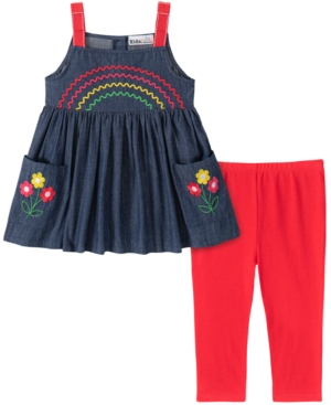 Kids Headquarters Baby Girls 2-Pc. Denim Rainbow Tunic & Leggings Set