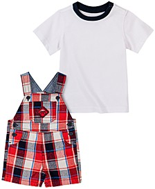 Baby Boys 2-Pc. T-Shirt & Plaid-Print Shortalls Set