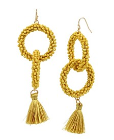 Woven Beaded Tassel Gold-Tone Drop Earrings