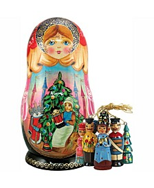 Russian Nutcracker Matryoshka Wooden Doll and Ornaments Set
