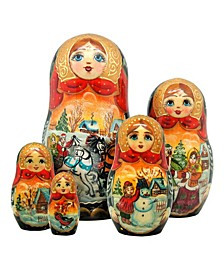 Troika Winter 5 Piece Russian Matryoshka Stacking Dolls Set