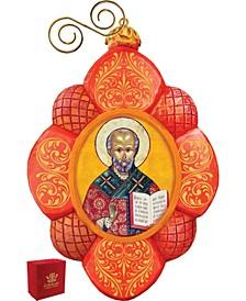 Hand Painted Saint Nick Scenic Ornament