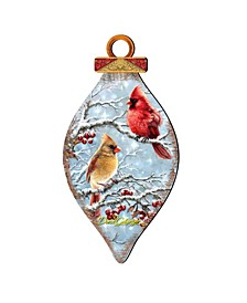 by Dona Gelsinger Winter Cardinals Ornament and Cone Ornament, Set of 2 Each