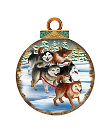 Huskies Ball Wooden Ornaments, Set of 2