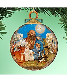 Nativity Ball Wooden Ornaments, Set of 2
