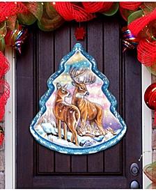 Reindeer Tree Wooden Door Hanger Over The Door Wooden Hanger