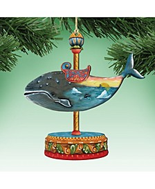 Carousel Whale Christmas Wooden Ornament, Set of 2