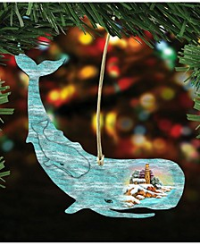 Whale Scenic Wooden Christmas Ornament Set of 2