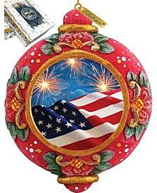 Hand Painted Scenic Ornament Patriotic Fireworks