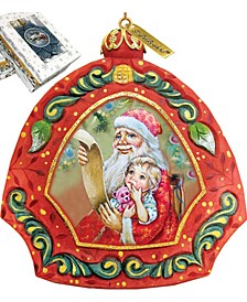 Hand Painted Scenic Ornament Santa's List