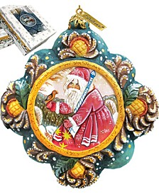 Hand Painted Scenic Ornament Quiet Time Santa