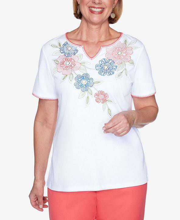 Alfred Dunner Plus Size Short Sleeve Embroidered Floral Yoke Knit Top