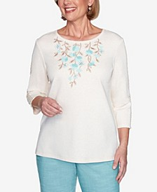 Plus Size Three Quarter Sleeve Floral Applique Knit Top