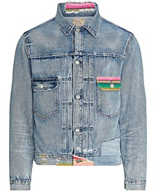 Men's Repaired Denim Trucker Jacket
