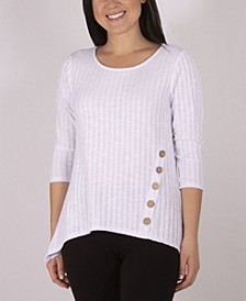 3/4 Sleeve Sharkbite Rib Knit Top with Button Detail