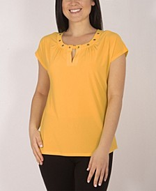 Cap Sleeve Top with Grommet Details and Keyhole