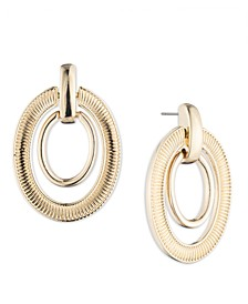 Gold-Tone Textured Oval Link Orbital Drop Earrings