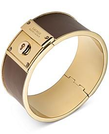 Gold-Tone & Leather Key-Lock Bangle Bracelet