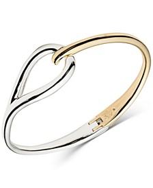 Two-Tone Open Leaf Bangle Bracelet
