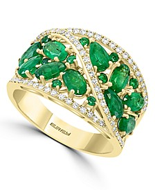 EFFY® Emerald (2-1/2 ct. t.w.) & Diamond (1/4 ct. t.w.) Multi-Shape Cluster Ring in 14k Gold