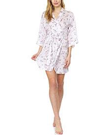 Flora Monika Floral-Printed Charmeuse Wrap Robe