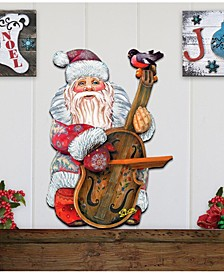 Violin Santa Wooden Decor