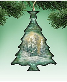 Woodsy Christmas Tree Wooden Ornament, Set of 2