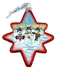 Holiday Snowman Play North Star Glass Ornament