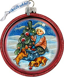 Trim A Tree Boy with Dogs C Ball Glass Ornament