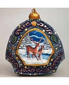 Hand Painted Scenic Ornament Moose Family Ornament
