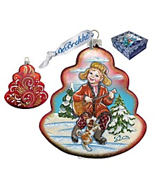 Dancing Boy Tree Glass Ornament