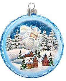 Guardian Santa Village Glass Ornament