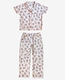 Marie Notched Collar Women's Pajama 2 Piece Set