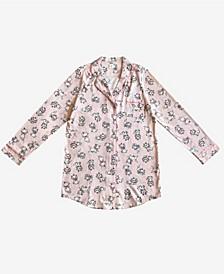 Marie Notched Collar Button Down Women's Sleep Shirt