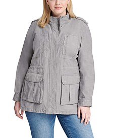 Stand-Collar Cotton Anorak Jacket