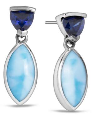 Larimar & Cubic Zirconia Drop Earrings in Sterling Silver
