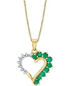 "Emerald (5/8 ct. t.w.) & Diamond (1/10 ct. t.w.) Heart 18"" Pendant Necklace in 14k Gold"