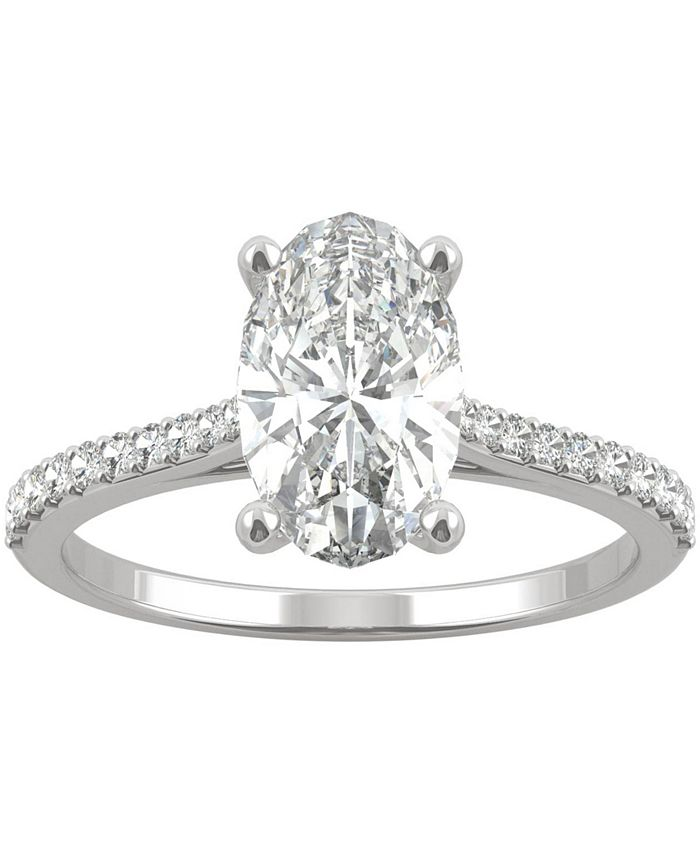 Charles & Colvard - Moissanite Oval Engagement Ring (2-1/2 ct. t.w. DEW) in 14k White Gold or 14k Yellow Gold