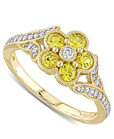 Yellow Sapphire (3/4 ct. t.w.) & Diamond (1/6 ct. t.w.) Flower Ring in 10k Gold