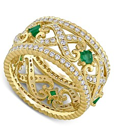 Emerald (3/8 ct. t.w.) & Diamond (7/8 ct. t.w.) Filigree Openwork Ring in 14k Gold
