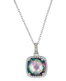 """Mystic Topaz (3-1/2 ct. t.w.) & Diamond Accent Cushion 18"""" Pendant Necklace in Sterling Silver"""