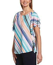 Salerno Stripe Short Flutter Sleeve Shirt