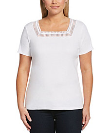 Rafaella Solid Square Neck Short Sleeve Shirt with Round Lace Trim