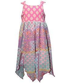 Toddler Girls Printed Handkerchief-Hem Dress