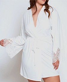 Plus Size Ultra Soft Lace Trimmed Robe
