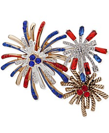 Two-Tone Crystal & Stone Red, White & Blue Fireworks Pin