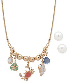 Gold-Tone Crystal & Imitation Pearl Crab Statement Necklace & Stud Earrings Set