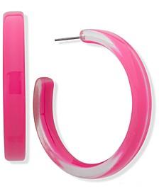 """Medium Resin Hoop Earrings, 1.6"""""""