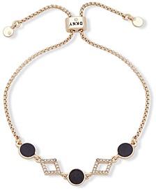 Gold-Tone Stone & Crystal Bolo Bracelet