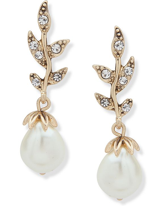 lonna & lilly Gold-Tone Stone & Crystal Leaf Drop Earrings